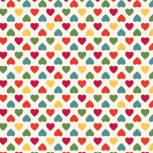 Tricoline Amor Mini Corações Coloridos Fundo Claro, 100% Algodão, Unid. 50cm x 1,50mt