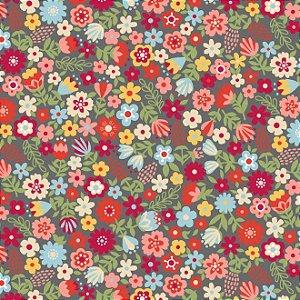 Tecido Tricoline Estampado Floral Esperança Pequeno Cinza, 100% Algodão, Unid. 50cm x 1,50mt