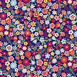 Tecido Tricoline Estampado Floral Esperança Pequeno Azul, 100% Algodão, Unid. 50cm x 1,50mt