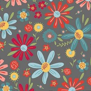 Tecido Tricoline Estampado Floral Esperança Grande Cinza, 100% Algodão, Unid. 50cm x 1,50mt