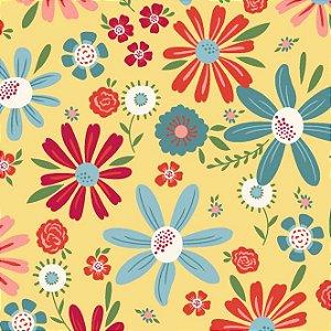 Tecido Tricoline Estampado Floral Esperança Grande Amarelo, 100% Algodão, Unid. 50cm x 1,50mt