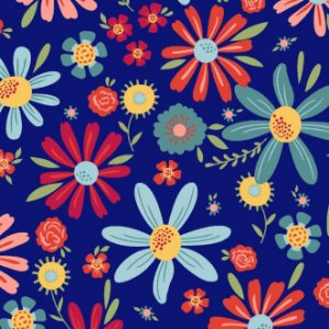 Tecido Tricoline Estampado Floral Esperança Grande Azul, 100% Algodão, Unid. 50cm x 1,50mt