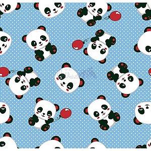 Tecido Tricoline Panda (Azul com Vermelho), 100% Algodão, Unid. 50cm x 1,50mt
