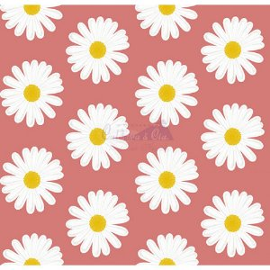 Tecido Tricoline Margaridas (Rose), 100% Algodão, Unid. 50cm x 1,50mt