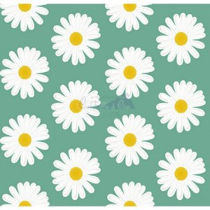 Tecido Tricoline Margaridas (Verde), 100% Algodão, Unid. 50cm x 1,50mt