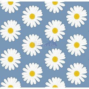 Tecido Tricoline Margaridas (Azul), 100% Algodão, Unid. 50cm x 1,50mt