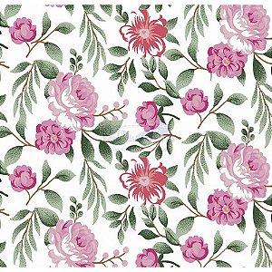 Tecido Tricoline Gardenias (Rosa), 100% Algodão, Unid. 50cm x 1,50mt