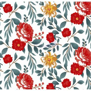 Tecido Tricoline Gardenias (Vermelho), 100% Algodão, Unid. 50cm x 1,50mt