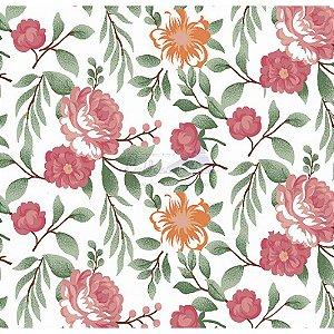 Tecido Tricoline Gardenias (Rose), 100% Algodão, Unid. 50cm x 1,50mt