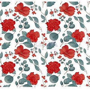 Tecido Tricoline Camélias (Vermelho), 100% Algodão, Unid. 50cm x 1,50mt