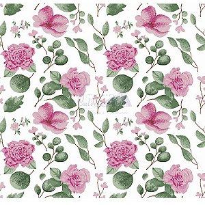 Tecido Tricoline Camelias (Rosa), 100% Algodão, Unid. 50cm x 1,50mt