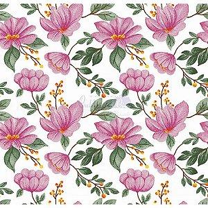 Tecido Tricoline Azaleias (Rosa), 100% Algodão, Unid. 50cm x 1,50mt