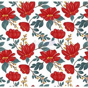 Tecido Tricoline Azaleias (Vermelho), 100% Algodão, Unid. 50cm x 1,50mt