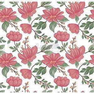 Tecido Tricoline Azaleias (Rose), 100% Algodão, Unid. 50cm x 1,50mt