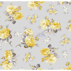 Tecido Tricoline Jasmine (Cinza-Amarelo), 100% Algodão, Unid. 50cm x 1,50mt