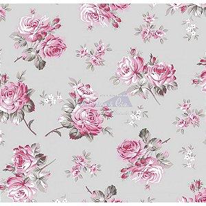 Tecido Tricoline Jasmine (Cinza-Rosa), 100% Algodão, Unid. 50cm x 1,50mt