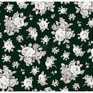 Tecido Tricoline Magnolia (Preto), 100% Algodão, Unid. 50cm x 1,50mt