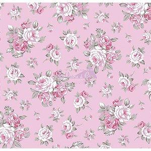 Tecido Tricoline Magnolia (Rose), 100% Algodão, Unid. 50cm x 1,50mt