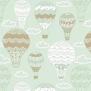 Tecido Tricoline Balões Menta, 100% Algodão, Unid. 50cm x 1,50mt