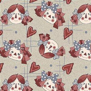 Tecido Tricoline Rostos Bonecas de Pano Country, 100% Algodão, Unid. 50cm x 1,50mt