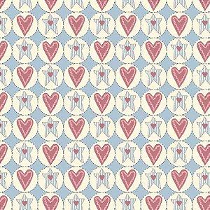 Tecido Tricoline Estrelas e Corações Pastel, 100% Algodão, Unid. 50cm x 1,50mt