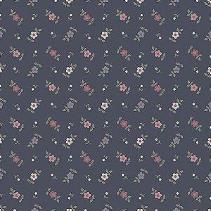 Tecido Tricoline Mini Flores Delicadas Azul, 100% Algodão, Unid. 50cm x 1,50mt