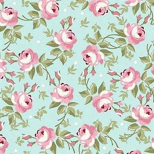 Tecido Tricoline Floral Fadas Tiffany, 100% Algodão, Unid. 50cm x 1,50mt