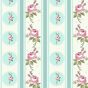 Tecido Tricoline Listras Florais Fadas Tiffany, 100% Algodão, Unid. 50cm x 1,50mt