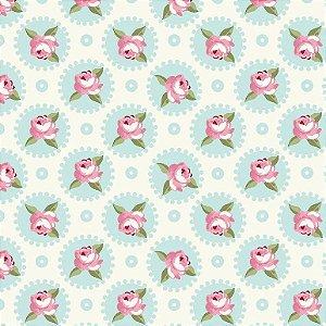 Tecido Tricoline Mandalas Florais Fadas Tiffany, 100% Algodão, Unid. 50cm x 1,50mt