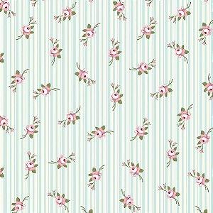 Tecido Tricoline Micro Florais Fadas Tiffany, 100% Algodão, Unid. 50cm x 1,50mt