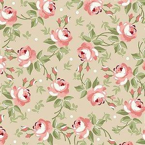 Tecido Tricoline Floral Fadas Creme, 100% Algodão, Unid. 50cm x 1,50mt