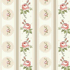 Tecido Tricoline Listras Florais Fadas Creme, 100% Algodão, Unid. 50cm x 1,50mt