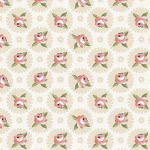 Tecido Tricoline Mandalas Florais Fadas Creme, 100% Algodão, Unid. 50cm x 1,50mt