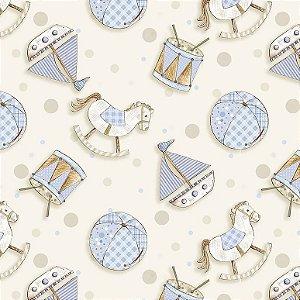Tricoline Digital Brinquedos Baby Azul, 100% Algodão, Unid. 50cm x 1,50mt