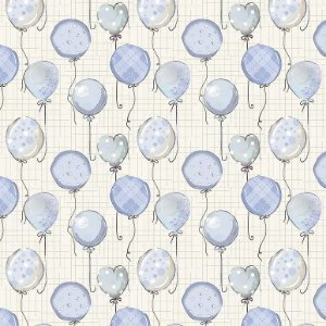 Tricoline Digital Balões Baby Azul, 100% Algodão, Unid. 50cm x 1,50mt