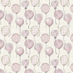 Tricoline Digital Balões Baby Rosa, 100% Algodão, Unid. 50cm x 1,50mt