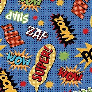 Tricoline Estampado Super Hero Zoom Azul - 100% Algodão, Unid. 50cm x 1,50mt