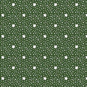 Tricoline Estampado Estrelinhas Verde Floresta, 100% Algodão, Unid. 50cm x 1,50mt