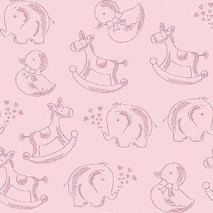 Tricoline Estampado Basics Baby Colors Rosa Bebê, 100% Algodão, Unid. 50cm x 1,50mt