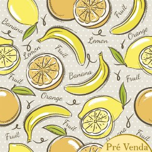 Tricoline Estampado Yellow Fruits PV, 100% Algodão, Unid. 50cm x 1,50mt