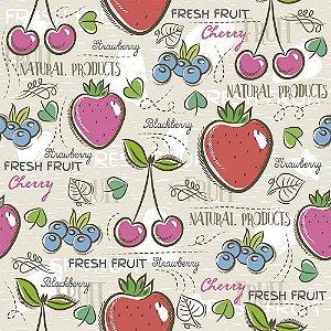 Tricoline Estampado Fresh Fruit, 100% Algodão, Unid. 50cm x 1,50mt