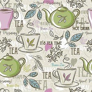 Tricoline Estampado Tea Time, 100% Algodão, Unid. 50cm x 1,50mt