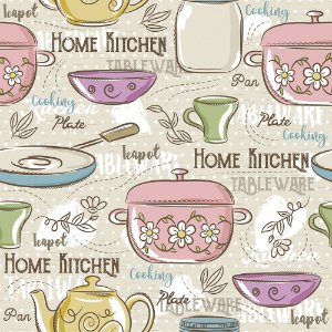 Tricoline Estampado Home Kitchen, 100% Algodão, Unid. 50cm x 1,50mt