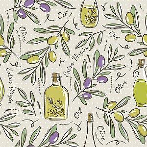 Tricoline Estampado Olive Oil PV, 100% Algodão, Unid. 50cm x 1,50mt