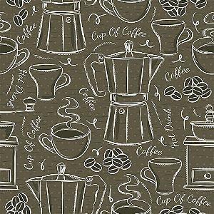 Tricoline Estampado Cup of Coffe, 100% Algodão, Unid. 50cm x 1,50mt