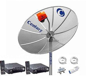 Kit Completo Antena Parabólica Century 1,5m 2 Receptor Nano Box