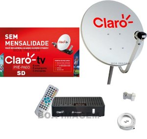Kit Claro Tv Pré-Pago SD Mercantil  1 Receptores Digital + Antena 60 cm
