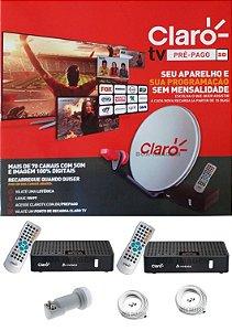 Claro Tv Pré-Pago SD Mercantil 2 Receptores Digital + Antena 60 cm
