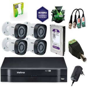 kit Cftv 4 cãmeras Segurança  Intelbrás  vhd1010b g4+hd 1 tera+Dvr  Intelbrás Muilt HD MHDX 1104