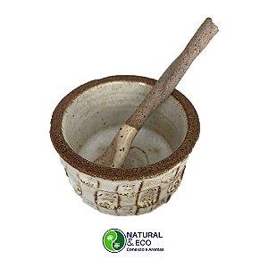 Mini bowl  cerâmica com colher para preparação de argila